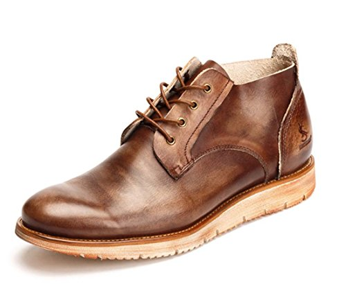 Marine Mode Trainer (Vintage Herren Schuhe High Top Freizeitschuhe Schnürung Aufzug Boden Flache Müßiggänger New Chic Leder Schuhe ( Color : Coffee , Size : 42 ))