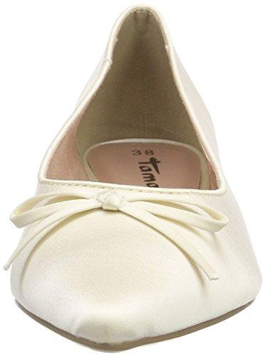 Tamaris Damen 22208 Geschlossene Ballerinas, Weiß (Champagne 179), 41 EU