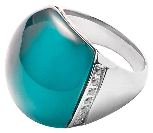 JEWELS BY LEONARDO Damen Ring Casoli Edelstahl/silberfarben Glas Zirkonia türkis Ringgröߟe 63 (20.1) Glitzer 016745