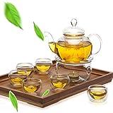 PANGUN 8 Pz/Set Chiaro Vetro tè Doppia Parete Teiera & Tazza Filtro Drink Home Decor