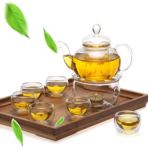 PANGUN 8 Pcs/Set Clear Glass Tea Double Wall Teapot & Cup Filtering Drink Home Decor Teekanne 8 Cup