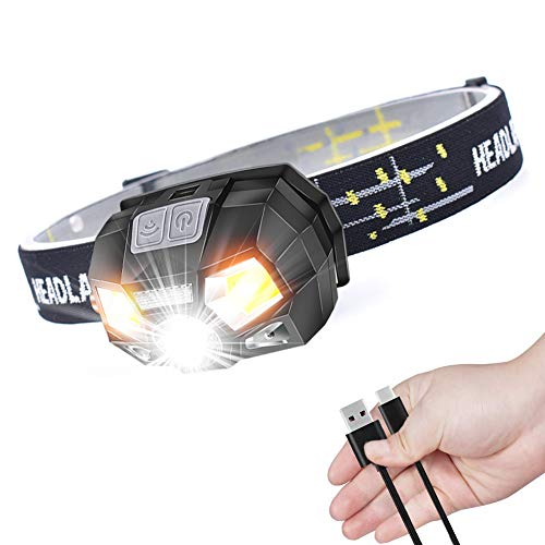 Linterna Frontal LED USB Recargable,HUOU Linterna Frontal LED, IPX6 impermeable para Camping, Excursión, Pesca, Carrera, Ciclismo