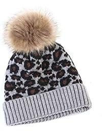 Cappello Invernale Per Bambini Cappello Invernale Lavorato A Maglia Con  Stampa Leopardata Cappello Caldo Per Ragazzi 134e124de89a