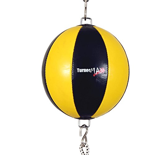 TurnerMAX Cuero sintético Boxeo Doble Fin carenado Bola Amarilla Negr