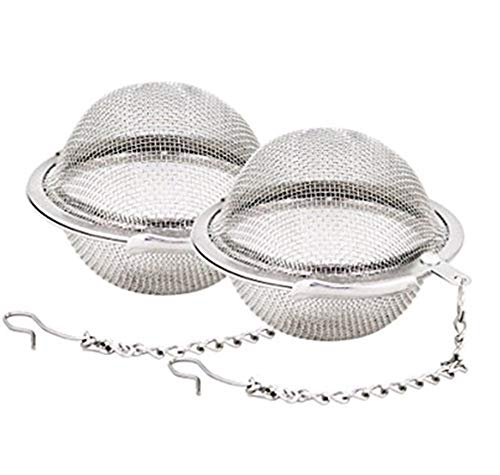 Bobopai 2pcs Stainless Steel Mesh Tea Ball 2.1 Inch Tea Infuser Strainers Tea Strainer Filters Tea Interval Diffuser for Tea (Style 1) 24 Oz Crystal