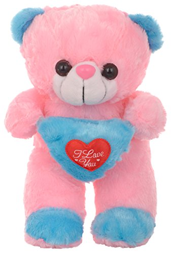 MEGADDICT Best & Cheap Cute & Cuddly Handmade Soft Plush Teddy Bear Toy for Your Kids / Friends Birthday Gift or I Love You Valentine Gift / Anniversary Gift for Your Wife / Girlfriend - PINK & BLUE - 1.21 feet / 14.5 inches / 37 cms  available at amazon for Rs.299
