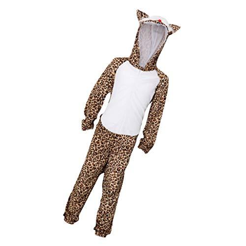 IPOTCH Ganzkörper Tier-Kostüm für Kinder, Einteiler Overall Jumpsuit für Halloween Karneval - Leopard, Einheitsgröße