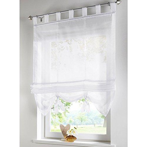 KOU-DECO Raffrollo Schlaufen Gardinen Voile Transparent Vorhänge 1er-Pack Vorhang (B*H 60*155cm, Weiß)