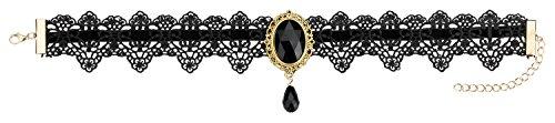 HO-Ersoka Damen Vintage Gothic Halsband Halskette Häkelspitze Glasstein schwarz