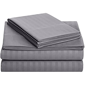 AmazonBasics Deluxe Microfiber Striped BedSheet Set (Includes 1 bedsheet, 1 fitted sheet with elastic, 2 pillow covers), Dark Grey, King