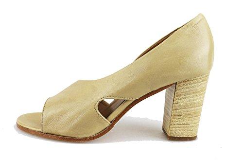 MICHEL BATIC sandali donna nero beige pelle (38 EU, Beige)