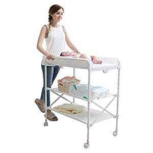White Newborn Changing Table On Wheels, Baby Bathing Massage Baby Cot Foldable Changing Diapers Dresser with Pad   12