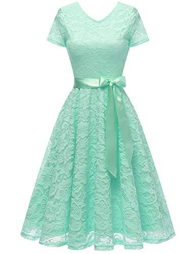 bridesmay Damen 50S Retro Spitzenkleid Kurzarm Elegant Brautjungfernkleid Abendkleider Mint S - Grün-kleid Frauen Mint Für