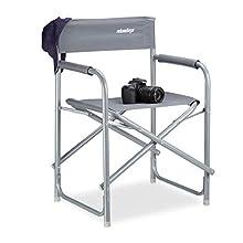 Relaxdays Chaise de metteur en scène pliante HxlxP: 81,5 x 56 x 50 cm, camping, avec logo, charge jusqu'à 120 kg en aluminium, gris