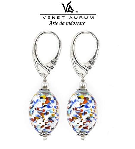 Venetiaurum by Linea Italia - Orecchini donna con perle in vetro originale di Murano e argento 925 - Gioiello made in Italy certificato