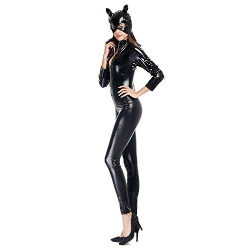 Alle Halloween Leder Kostüm (Vogvigo Cosplay Kostüm für Halloween Parteien Leder Katze Mädchen Motorrad Jacke)