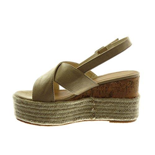 Angkorly Scarpe Moda Sandali Mules con Cinturino Alla Caviglia Zeppe Donna Corda Intrecciato Tanga Tacco Zeppa Piattaforma 9.5 cm Beige
