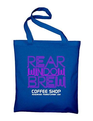 Rear Windows Brew Logo Fan Cafe Bar Diner Jutebeutel Royalblau