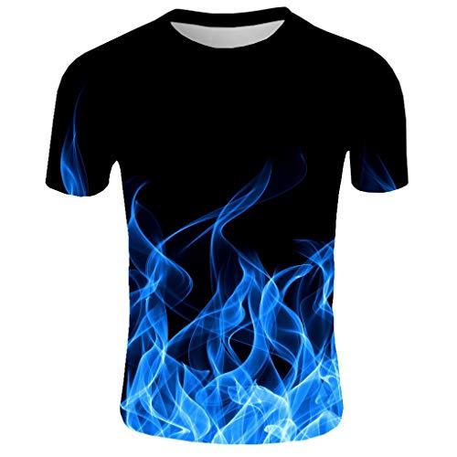 SuperSU-Herren tops ►▷ Sommer Tops für Männer Kurzarm Lässiges Mode T-Shirt 3D Flamme Print Muster Tops Casual Bequeme Bluse Täglich Persönlichkeit Oberteil Pulli Dating Sport -
