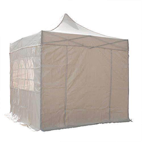 Airwave Pop-Up-Pavillon, 2,5x2,5m, beige, wasserfester GartenPavillon, 2 Windstangen und 4 Gewichte für die Beine