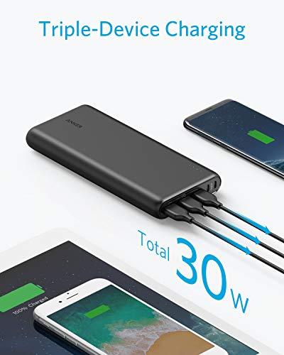 Anker PowerCore 26800mAh Power Bank Externer Akku mit Dual Input Ladeport, Doppelt so Schnell Wiederaufladbar, 3 USB Ports für iPhone X 8 8Plus 7 6s 6Plus, iPad, Samsung Galaxy, Android und weitere Smartphones (Schwarz) - 8