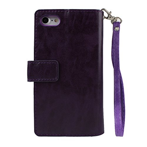iPhone 7 Leder Geldbörse Wallet Reißverschluss Karte Schutzhülle, Schutzhülle iPhone 7, iPhone 7 Bumper Hülle, Moon mood® Ledertasche für Apple iPhone 7 (4.7 Zoll) PU Leder Zipper Geldbörse Handy Hols Lila