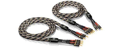 VIABLUE SC-4 SILVER BI-WIRE * High-End Lautsprecherkabel * T6s Bananenstecker, echtvergoldet * 1 Paar * 150 cm * mit Splitter * 1.5 m (Lautsprecherkabel Bi-wire)