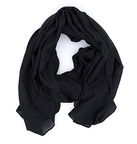 WILD CAT Damen Schal Halstuch Tuch aus Chiffon für Frühling Sommer Ganzjährig (Schwarz)