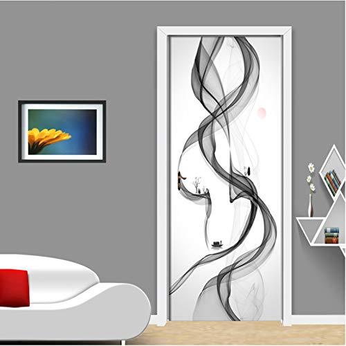 Kurven 3 Glühbirnen (omybw Moderne Abstrakte Rauch Kreative Kunst Wandbild Tür Aufkleber 3D Kurve Gestreiften Wohnzimmer Tür Tapete PVC Wasserdicht 77 * 200 cm)