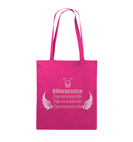 Comedy Bags - BIKERGESETZE - FLÜGEL - Jutebeutel - lange Henkel - 38x42cm - Farbe: Navy / Beige-Hellgrün Pink / Rosa-Weiss