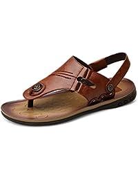 Chaussons pour hommes Pantoufles de plage en cuir véritable Sandales décontractées Chaussures antidérapantes pour chaussures plates fermées NO Colle ,Pour Hommes ( Color : Brown , Size : 38 EU )