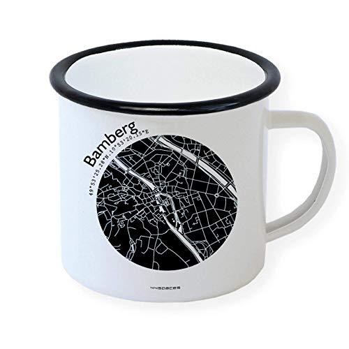 Emaille Becher Retro-Tasse BAMBERG Stadtplan in 5 Farben by 44spaces – Nostalgie-Tasse bedruckt mit Strassenplan und Koordinaten für Bamberger Morgenmuffel Outdoor Fans Garten Arbeit Chef Kollegen