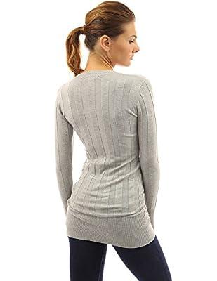 PattyBoutik Smart V-Neck Ribbed Knit Long Sleeve Jumper Tunic Top