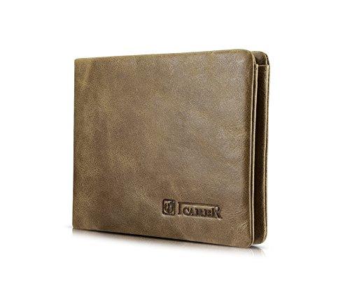 Passport Folio (Männer Geldbörse, ICARER [100% Echtes Leder] Flip Bifold Brieftasche, 6 Kreditkarten Inhaber, [Ultra Light & Soft] Tasche Geldbörse mit Geschenkbox(Khaki))