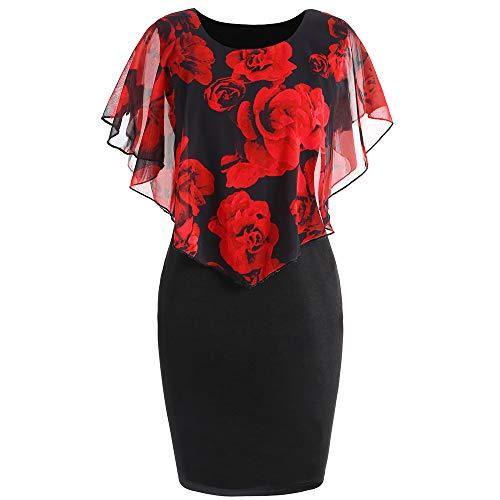 CharMma Damen Übergröße Rose Valentine Overlay Capelet Knielang Kleid (Schwarz-Rot, ()