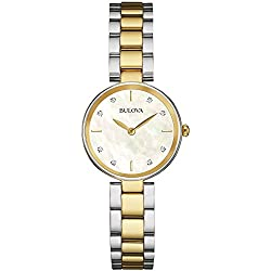 Bulova Ladies Women's Designer Diamond Watch Bracelet - Stainless Steel Two tone Gold Wrist Watch 98S146
