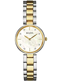 Bulova Diamond 98S146 - Damen Designer-Armbanduhr - Edelstahl - Goldfarben