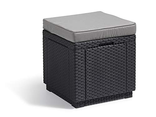 Allibert Hocker Cube mit Kissen, graphit (Rattan Poly)