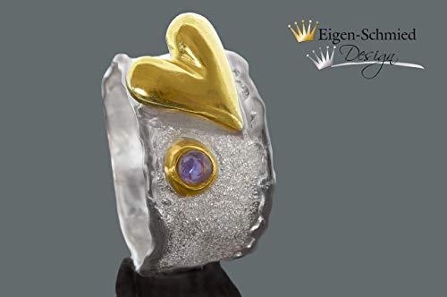 """Goldschmiede Silberring\""""a heart of silver\"""", in 925er Sterling Silber mit Teilvergoldung, Saphir, Silberring, Schmuck, Herz, Liebe, Verlobung, Verlobungsring, Silberschmuck"""