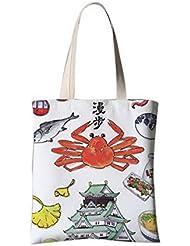 El estilo japonés florece el bolso de lona del ilustr bolsa lienzo Cangrejos y el pescado