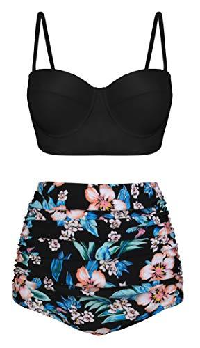 Angerella Damen Retro Vintage Underwire Hoch Tailliert Badeanzüge Bikini Set,Large