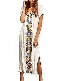 WANGXN Womens Robe jupe de plage bohemian v cou manches courtes robe divisée