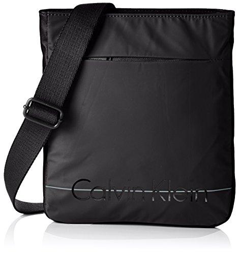 Calvin Klein Logan 2 Flat Crossover Borsa Messenger, 75 cm, Nero
