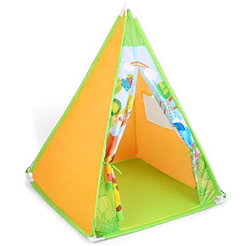 Longra Spielzeug Spielzelt für Draußen und Drinnen, tragbar, aus Holz und Zelttuch, Indianerwigwam für Kinder, Spielhaus für Jungs und Mädchen