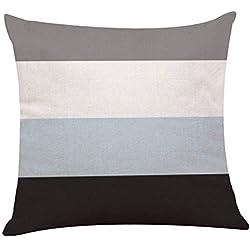 TrifyCore Funda de Almohada Cuadrada de Lino con diseño de Rayas geométricas para sofá, Cintura, Manta de cojÍn, 4#, Una Talla
