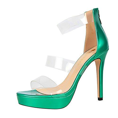 z&dw Chaussures élégantes de chaussure sexy de plate-forme imperméable à la personnalité creuse transparent un mot avec des sandales Vert
