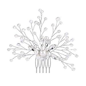 Clearine Damen Hochzeit Braut Kristall Künstliche Perlen DIY Filigran Blume Haarkamm Klar Silber-Ton