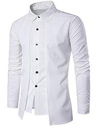 JiaMeng Camisa de Vestir Delgada de la Camisa Formal de Vestir de Manga Larga para Hombre