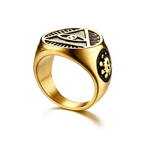 SonMo Herren Ringe Auge des Gottes Siegelring Eheringe Trauringe Edelstahl Paarringe Verlobungsring für Herren 18.5Mm Gold Größe 67 (21.3)