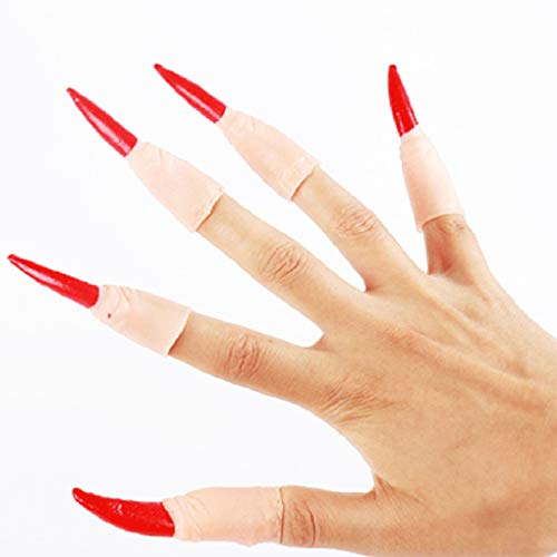 Scary gefälschte Finger Hexe Nagel Bezüge Set Halloween-Partei-Kostüm Cosplay Props ()